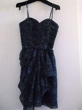 Rebecca Taylor Black Blue Navy Animal Cheetah Leopard Silk Dress 4 Free Shipping