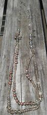 Pink baroque pearls and champagne crystals beaded necklace FRB