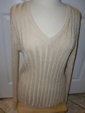 "Ladies""CHICO'S""Goldish  V-Neck Long Sleeve Stretch Knitted Sweater size 2.CUTE!"