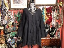 Lovely JJ's Fairyland Womens Soft Black Cotton Crochet Lace Boho Dress M/L