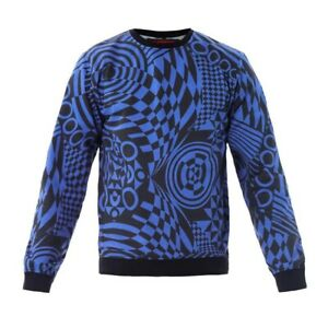Versus Versace Mens Geometric Sweater Sweatshirt Blue Navy Designer Size M