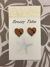 Hawaiian Island Heart Koa Wood Earring Studs