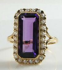 LARGE 9CT 9K GOLD 15mm x 7mm AFRICAN AMETHYST & PEARL ART DECO INS RING