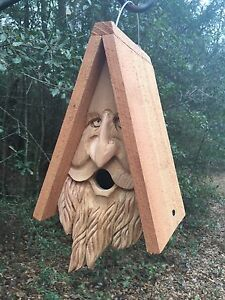 Hand Carved Wood Spirit Old Man Face Cedar Birdhouse Happy