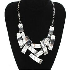 Urban Glam Silver Asymmetrical Plate Necklace