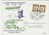 Germany 1975 75 Years Zeppelin Airships Rose Slogan Cancel Stamps Cover Ref24007