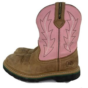 John Deere Girl's Size 2.5 M Leather Western Boots Pink & Brown JD2185