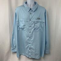 Field & Stream Mens XXXL 3XL Blue Long Sleeve Fishing Hiking Vented Shirt