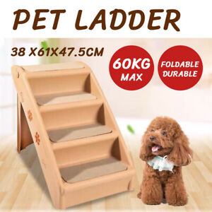 Pet Stairs 3 Steps Portable Cat Dog Ladder w/ Washable Ramp Climb For Pup Play