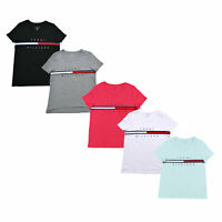Tommy Hilfiger Womens T-Shirt Big Logo Ribbon Flag Short Sleeve Crew Neck New