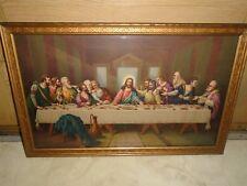"VINTAGE FRAME JESUS CHRIST LAST SUPPER  21"" 1/2 X 13"" 1/2 PRINT PICTURE"