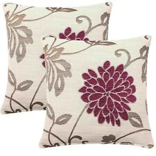 "Set of 2 Orla Floral Cushion Covers Reversible Flower Covers Pair 18"" x 18"""