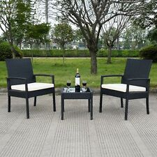 3PCS Patio Rattan Wicker Chair Sofa Table Set Cushioned Outdoor Garden Furniture