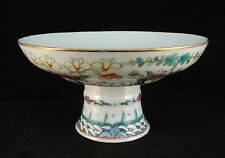 """Chinese Qing Dynasty hand painted enameled porcelain footed bowl. 19th c. 7 ½"""" d"""