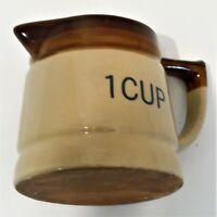 Clay Pottery One Cup Unbranded Measuring Cup Brown and Tan