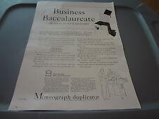 "1941 Mimeograph Duplicator Vintage Magazine Ad ""Business Baccalaureate"""
