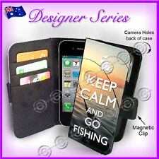 Apple iPhone 4 4G 4S Wallet Flip Card Case Keep Calm and Go Fishing 75 Mens