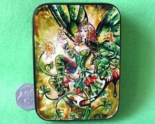 Russian Hand Painted Lacquer Shell Box IRISH Shamrock Fairy Artist SILANTYEVA