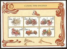 GAMBIA 1996 CLASSIC OLD FIRE ENGINES Sheet of 6v MNH
