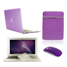 "5 in 1 Rubberized PURPLE Case for Macbook Air 11"" + Key Cover + LCD + Bag +Mouse"