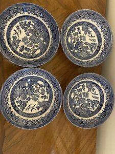 "Church Hill Blue Willow Soup Bowls 8"""