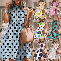 Women Lady Summer Smock Dress Holiday Beach Casual Loose Boho Frill Sundress