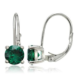 925 Sterling Silver 1.6ct Created Emerald Leverback Earrings