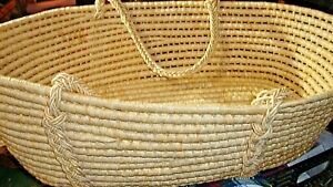 Moses Basket Baby Bassinet Nursery Storage Decor Natural Heavy Hand-Crafted  Box