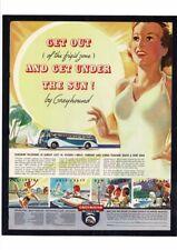 Vintage Greyhound Bus Travel Sun Beach Ocean Fishing Girls Ad Print Art
