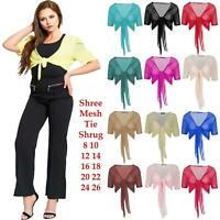 Womens Ladies Mesh Short Sleeve Tie Front Bolero Cropped Shrug Top Cardigan 8-26