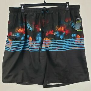 Burnside Men's Multicolor Floral Drawstring Cargo Pocket Swim Trunks Lined 2XL *