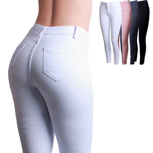 Damen Skinny Jeans High Waist Destroyed Slim Fit Stretch Fransen Röhrenhose