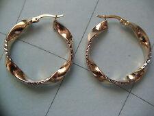 edle Creolen 2-farbig Gold 333 diamantiert, Ohrringe 30 x 4 mm Gold 333 bicolor