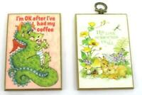 Lot of 2 Vintage Retro Small Wall Hang ~ His Love Surrounds Us
