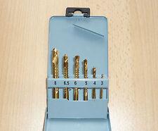 Fräsbohrer Satz 6tlg. HSS-Tin 3- 4 - 5 - 6 - 6,5 - 8mm für Metall, PVC, Holz