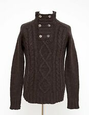 MENS BOYS OF EUROPE JUMPER LAMBSWOOL BLEND CABLE KNIT SWEATER BROWN M MEDIUM