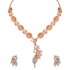 Indian Bollywood Wedding Fashion Rose Gold Plated Western Necklace Jewelry Set