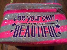 """Hot Pink Sequin soft Case Makeup Bag """"Be your own kind of Beautiful"""" purple gray"""