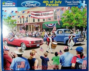 """White Mountain 4th of JULY PARADE Ford Mustang Truck Jigsaw Puzzle 1000p 24x30"""""""