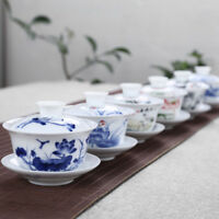 200ml tea bowl on sales blue-and-white porcelain gaiwan Chinese tea cup saucer