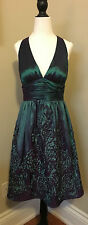 ADRIANNA PAPELL Sz 10 Purple/Green Iridescent Cocktail Formal Dress