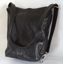BLACK LEATHER SHOULDER BAG OR BACKPACK CROSS BODY HANDBAG
