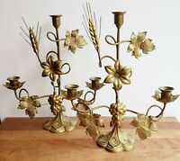 Antique French altar candelabra pair brass and gilded metal wheat lilies grapes