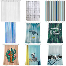 Waterproof Extra Long Plain Shower Curtain Extra Wide Home Bathroom + 12 Hooks