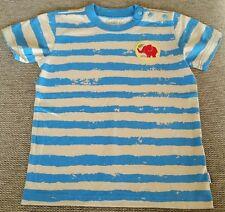 JAKO-O T-Shirt Jungen Gr. 104/110 blau beige hellbraun gestreift Elefant WIE NEU
