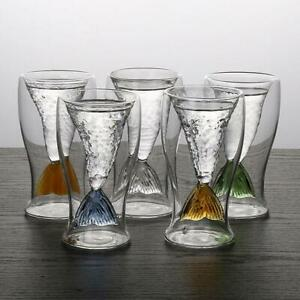 Creative Double Layer Mermaid Fish Tail Drinking Glass