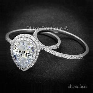 3.50 CT HALO PEAR SHAPE AAA CZ .925 STERLING SILVER WOMEN'S WEDDING RING SET