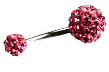 Piercing Nombril Courbe rose Strass Barbell Anneau Boule Belly Ring K6X4