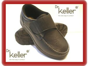 NEW mens black dr keller wide fit  touch fasten  casual comfort walking shoes