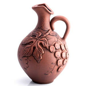 2-qt Rustic Clay Stoneware Wine Pitcher, Handmade in Russia, Grapes Pattern